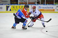 IJSHOCKEY: HEERENVEEN: 14-12-2013, IJsstadion Thialf, UNIS Flyers - Dordrecht Lions, uitslag 10-0, Jade Galbraith (#6| Flyers), Reinier Staats (#4 | Dordrecht), ©foto Martin de Jong