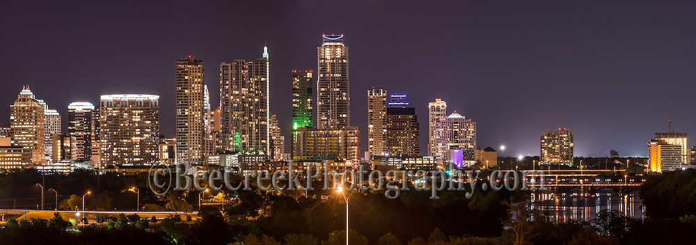 This was a panorama photo we capture of the Austin skyline at night and to the right you can see ladybird lake with the lights of the city being reflected in the water.