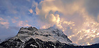 Sunset and clouds over the sumit of the North Face of the Eiger