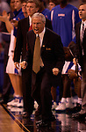 7 April 2003: Kansas University's head coach Roy Williams shouts instructions to his players during the Men's Division I Final Four Championships held at the Louisiana Superdome in New Orleans, LA. Syracuse University went on to defeat Kansas University 81-78 for the championship title. Photo by: Ryan McKee/NCAA Photos
