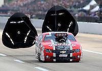 Apr 26, 2014; Baytown, TX, USA; NHRA pro mod driver Mike Janis during qualifying for the Spring Nationals at Royal Purple Raceway. Mandatory Credit: Mark J. Rebilas-