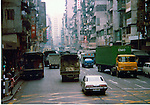 Trucks and lorries delivering goods. Pictures taken in Hong Kong China in 1977 at the time of the cultural revolution.