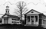 The Middlebury Congregational Church and Town Hall after reconstruction following the 1935 fire, circa 1940.