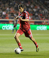Chicago Fire midfielder Sebastian Grazzini (10) prepares to shoot the ball.  The Chicago Fire defeated the Philadelphia Union 1-0 at Toyota Park in Bridgeview, IL on March 24, 2012.