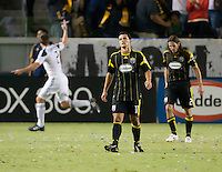 Disappointment expressed by Columbus Crew midfielder Dilly Duka (11) after a Galaxy goal during the first half of the game between LA Galaxy and the Columbus Crew at the Home Depot Center in Carson, CA, on September 11, 2010. LA Galaxy 3, Columbus Crew 1