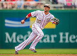 27 May 2013: Washington Nationals shortstop Ian Desmond in action against the Baltimore Orioles at Nationals Park in Washington, DC. The Orioles defeated the Nationals 6-2, taking the Memorial Day, first game of their interleague series. Mandatory Credit: Ed Wolfstein Photo *** RAW (NEF) Image File Available ***