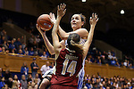 17 January 2016: Duke's Rebecca Greenwell (behind) and Boston College's Kailey Edwards (14). The Duke University Blue Devils hosted the Boston College Eagles at Cameron Indoor Stadium in Durham, North Carolina in a 2015-16 NCAA Division I Women's Basketball game. Duke won the game 71-51.