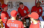 23 September 2007: Former Washington Senators third baseman Frank Howard sits in the Washington Nationals dugout signing autographs for current members of the Nationals prior to the very last professional baseball game, played against the Philadelphia Phillies at Robert F. Kennedy Memorial Stadium in Washington, DC. The Nationals defeated the visiting Phillies 5-3 to close out the 2007 home season. The Nationals will open up the 2008 season at Nationals Park, their new facility currently under construction.. .Mandatory Photo Credit: Ed Wolfstein Photo