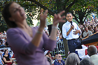 Sign language interpreter for the deaf.  Obama campaign rally  at Franklin & Marshall College, Lancaster, PA September 4, 2008 Barack Hussein Obama, Junior Senator from Illinois and candidate for President of the United States