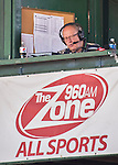 5 September 2016: Perennial Vermont Sportscaster of the Year George Commo calls the play-by-play for the Vermont Lake Monsters as the host the Lowell Spinners on the last game of the season at Centennial Field in Burlington, Vermont. The Lake Monsters defeated the Spinners 9-5 to close out their 2016 NY Penn League campaign. Mandatory Credit: Ed Wolfstein Photo *** RAW (NEF) Image File Available ***