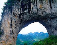 Limestone arch, Karst landscape near Yangshuo .Guangxi, People's Republic of China