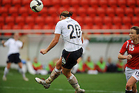 Abby Wambach heads a shot on goal.  The USA defeated Norway 2-1 at Olhao Stadium on February 26, 2010 at the Algarve Cup.