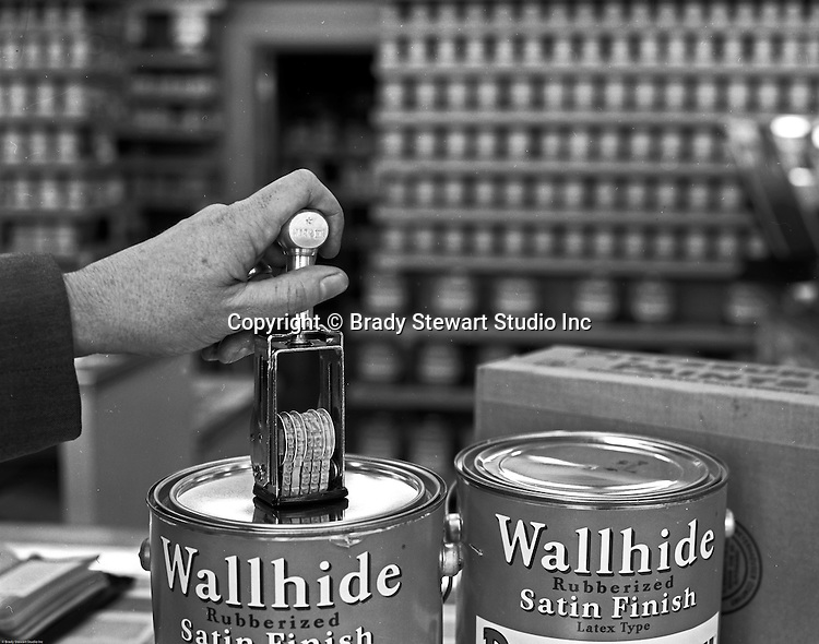 Client: Pittsburgh Plate Glass<br /> Ad Agency: Ketchum, MacLeod &amp; Grove<br /> Contact:<br /> Product: Pittsburgh Paints<br /> Location: Pittsburgh Paints store in Pittsburgh.<br /> <br /> Location photography at a Pittsburgh Paints Glass store featuring Wallhide Satin Finish Paints - 1961.  Photographic signment for Ketchum McLeod and Grove.