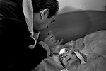 2012-12-26. Pere&ntilde;a, Salamanca.. Teresa Gallego tiene 99 a&ntilde;os y quiere morir en su casa de Cabeza de Framontanos. Ella es una de las pacientes de Luis Rodr&iacute;guez, m&eacute;dico rural en la comarca de Las Arribes (Salamanca), una de las m&aacute;s envejecidas y despobladas de Espa&ntilde;a. La mayor&iacute;a de los pacientes de esta zona son octogenarios que viven en municipios de menos de 500 habitantes como Pere&ntilde;a o Cabeza. El trabajo del m&eacute;dico rural es similar al de cualquier m&eacute;dico de familia, salvo por las largas distancias que tienen que recorrer para visitar a los pacientes. En algunos pueblos no hay ni siquiera dispensario y es el doctor el que se desplaza a las casas. Esta profesi&oacute;n tampoco se libra de los recortes sanitarios. Por ejemplo, Castilla y Le&oacute;n ha decidido suprimir las guardias m&eacute;dicas rurales en 16 puntos de su geograf&iacute;a. (c) Pedro ARMESTRE.<br /> <br /> 2012-12-26. Pere&ntilde;a, Salamanca..Teresa Gallego is 99 years old and she wants to die in her house of the small village of Cabeza de Framontanos. She is one of the patients of Luis Rodr&iacute;guez, a rural doctor in the region of Las Arribes (Salamanca), one of the most aged and depopulated of Spain. The majority of the patients of this zone are octogenarian that live in very small towns with no more than 500 inhabitants as Pere&ntilde;a or Cabeza. The work of the rural doctor is similar to any other general doctor, except for the long distances that they have to cross. The rural doctor usually moves with his car to the houses of the patients in zones with difficulties to access. The development and the cuts in the budget of the Spanish health can make eliminate this profession. (c) Pedro ARMESTRE