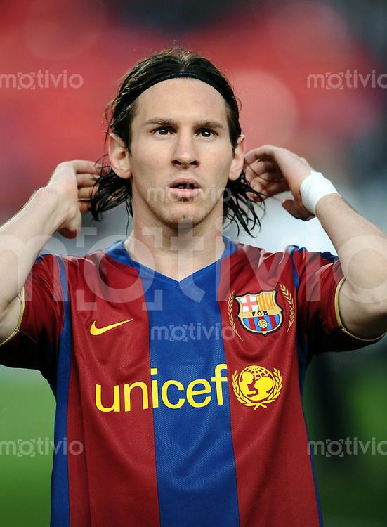 Fussball  Champions League   Viertelfinale   Saison 2007/2008   23.04.2008 FC Barcelona -  Manchester United                          Lionel Messi (Barca)