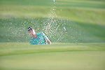 Golfer John Senden blasts out of a bunker first hole at the PGA FedEx St. Jude Classic at TPC Southwind in Memphis, Tenn. on Thursday, June 9, 2011.