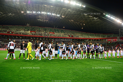 General view,.MARCH 12, 2013 - Football / Soccer :.Urawa Reds players shake hands with Muangthong United players before the AFC Champions League Group F match between Urawa Red Diamonds 4-1 Muangthong United at Saitama Stadium 2002 in Saitama, Japan. (Photo by AFLO)