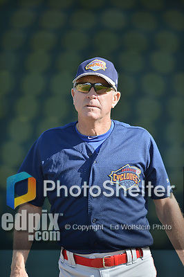 18 August 2012: Brooklyn Cyclones Manager Rich Donnelly watches batting practice prior to a game against the Vermont Lake Monsters at Centennial Field in Burlington, Vermont. The Lake Monsters defeated the Cyclones 4-1 in NY Penn League action. Mandatory Credit: Ed Wolfstein Photo