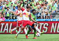 Seattle, Washington - May 31, 2015: The Seattle Sounders FC defeated the New York Red Bulls 2-1 in MLS action on the Xbox Pitch at CenturyLink Field.