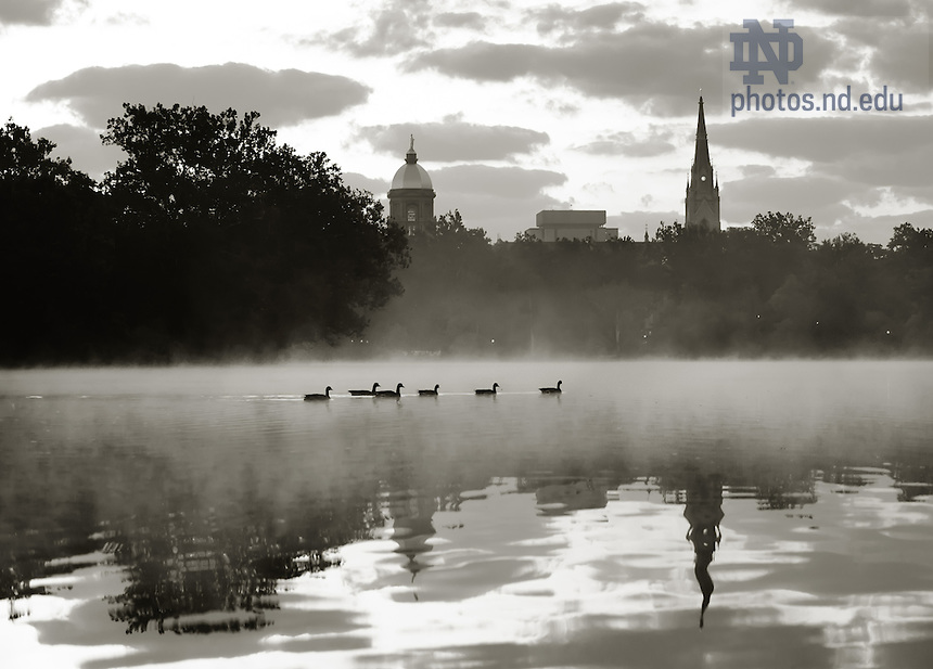 Sept. 4, 2009; St. Mary's Lake at sunrise, converted to Black & White.  See also color version of same photo...Photo by Matt Cashore/University of Notre Dame