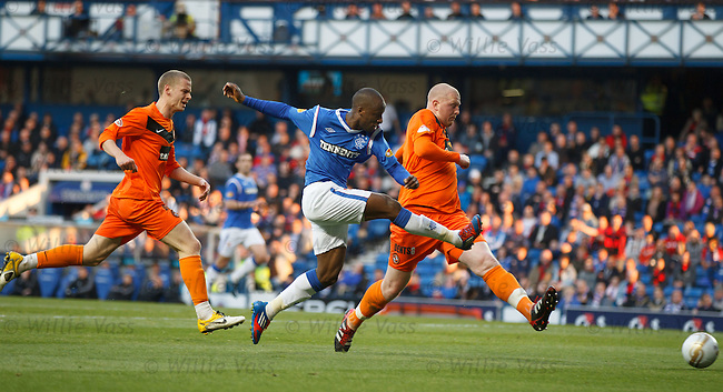 Sone Aluko fires in his second and Rangers third goal