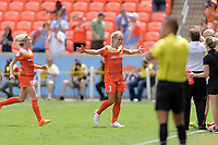Houston, TX - Saturday April 15, 2017: Rachel Daly celebrates her first goal during a regular season National Women's Soccer League (NWSL) match between the Houston Dash and the Chicago Red Stars at BBVA Compass Stadium.
