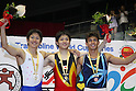 (L to R) Tetsuya Sotomura (JPN), Masaki Ito (JPN), Diogo Ganchinho (POR), JULY 9, 2011 - Trampoline : 2011 FIG Trampoline World Cup Series Kawasaki Men's Individual Final at Todoroki Arena, Kanagawa, Japan.(Photo by YUTAKA/AFLO SPORT) [1040]