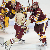 Destry Straight (BC - 17), David Grun (Duluth - 27) - The Boston College Eagles defeated the University of Minnesota Duluth Bulldogs 4-0 to win the NCAA Northeast Regional on Sunday, March 25, 2012, at the DCU Center in Worcester, Massachusetts.