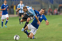 Argentina beats Italy 2-1 during the international friendly between Italy vs Argentina at Stadio Olimpico, in Rome, on August 14, 2013 in Rome. In the photo: Rodrigo Palacio Argentina, Giorgio chiellini Italy. Photo: Adamo Di Loreto/BuenaVista*photo