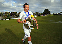 Auckland captain Angelo Berlanga walks over to thank the City fans after the Oceania Football Championship final (second leg) football match between Team Wellington and Auckland City FC at David Farrington Park in Wellington, New Zealand on Sunday, 7 May 2017. Photo: Dave Lintott / lintottphoto.co.nz