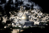Jerusalem, Israel, November, 1980. General view of Dome of the Rock and the mosque's minaret.