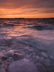 Beautiful sunset scenery of Georgian Bay rocky shore during sunset. Bruce Peninsula National Park, Ontario, Canada.