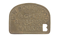 Stratford Market token (obverse) for G. W. Boultwood to issue deposit for return of produce crates and containers