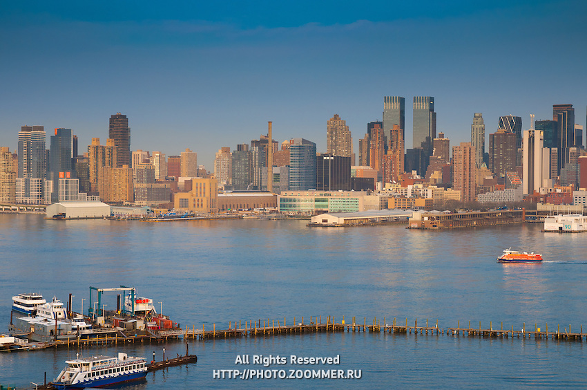Manhattan skyline and Hudson river in the evening