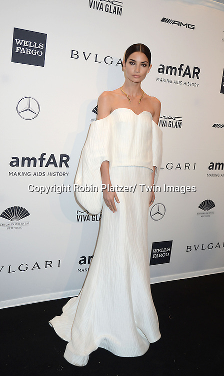 Lily Aldridge attends the amfAR New York Gala on February 5, 2014 at Cipriani Wall Street in New York City.