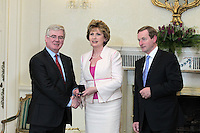 9/3/11 Eamon Gilmore, Tainaiste and Minister for Foreign Affairs with President Mary McAleese and Taoiseach Enda Kenny at Aras An Uachtarain for the appoinment of the Government. Pictures:Arthur Carron/Collins