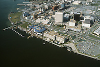 1983 September..Redevelopment.Downtown South (R-9)..WATERFRONT.WATERSIDE.TOWN POINT PARK.OMNI HOTEL.LOOKING NORTHWEST...NEG#.NRHA#..