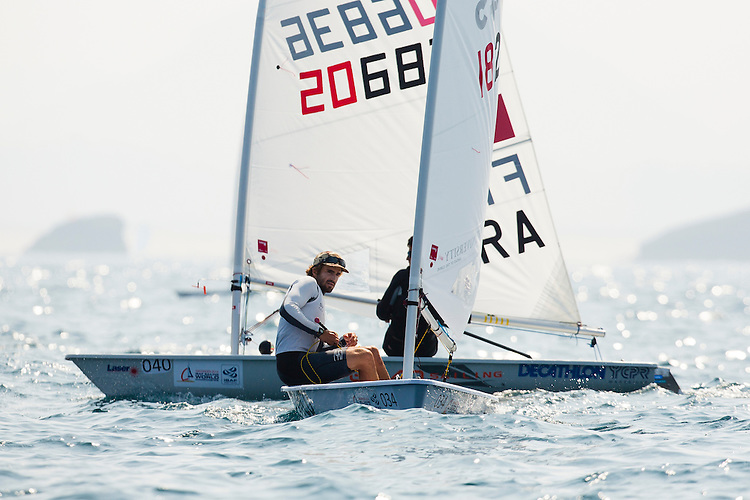 20140912, Santander, Spain: 2014 ISAF SAILING WORLD CHAMPIONSHIPS - More than 1,250 sailors in over 900 boats from 84 nations will compete at the Santander 2014 ISAF Sailing World Championships from 8-21 September 2014. The best sailing talent will be on show and as well as world titles being awarded across ten events 50% of Rio 2016 Olympic Sailing Competition places will be won based on results in Santander. Boat class and Sailor(s): Laser - USA182345 - Charlie Buckingham. Photo: Mick Anderson/SAILINGPIX.DK.