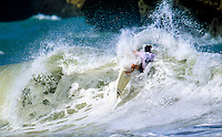 Two Times World Surfing Champion Tom Curren (USA) jamming it under the lip during a heat in the 1992 Quiksilver Masters at the Grand Plage in Biarritz, France. This sequence was used on the  cover of the American surfing magazine Surfer. Photo:joliphotos.com
