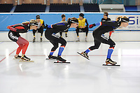 SCHAATSEN: HEERENVEEN: 04-11-2016, IJsstadion Thialf, eerste ijstraining na de ver(nieuw)bouw, training voor de team pursuit, ©foto Martin de Jong