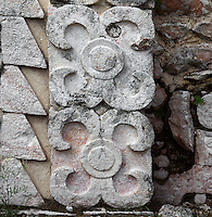 """Eastern Façade of the Codz Poop (""""Rolled-up matting"""" in Maya), Detail of ornamentation, Puuc Architecture, 700 ? 900 AD, Kabah, Yucatan, Mexico. Picture by Manuel Cohen"""