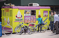 The frozen yogurt truck parked in the Long Island City neighborhood in Queens in New York on Saturday, May 3, 2014. (© Richard B. Levine)