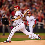 13 October 2016: Washington Nationals starting pitcher Max Scherzer on the mound during Game 5 of the NLDS against the Los Angeles Dodgers at Nationals Park in Washington, DC. The Dodgers edged out the Nationals 4-3, to take Game 5 of the Series, 3 games to 2, and move on to the National League Championship Series against the Chicago Cubs. Mandatory Credit: Ed Wolfstein Photo *** RAW (NEF) Image File Available ***