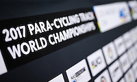 Picture by Alex Whitehead/SWpix.com - 01/03/2017 - Cycling - UCI Para-cycling Track World Championships - Velo Sports Center, Los Angeles, USA. Branding