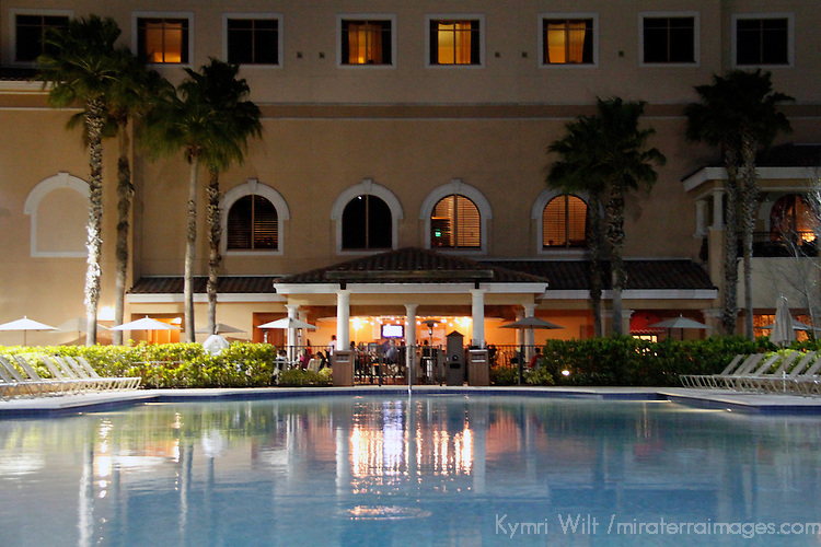 USA, Florida, Orlando. One of four pools at the Rosen Shingle Creek Resort.