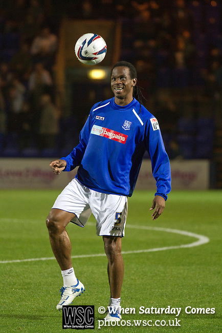 Tranmere Rovers 0 Stoke City 2, 25/09/2013. Prenton Park, Captial One Cup Third Round. 40-year-old former Jamaican international Ian Goodison taking part in the home team's pre-match warm-up at Prenton Park before Tranmere Rovers host Stoke City in a Capital One Cup third round match. The Capital One cup was formerly known as the League Cup and was competed for by all 92 English Premier League and Football League clubs. Visitors Stoke City won the match 2-0, watched by a crowd of 5,559 spectators. Photo by Colin McPherson.