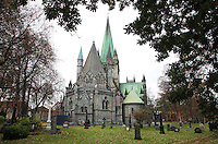 Nidarosdomen Cathedral is Norway's national sanctuary, and is built over the grave of St. Olav, Norway's patron saint. Construction started in 1070, but the oldest parts still in existence are from the middle of the twelfth century.