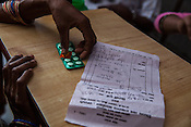 Detail of medicine dosage and the prescription at the local health centre in Hanuman Nagar in Saptari, Nepal.