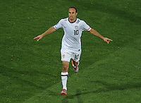 Landon Donovan of USA celebrates his goal. Ghana defeated the USA 2-1 in overtime in the 2010 FIFA World Cup at Royal Bafokeng Stadium in Rustenburg, South Africa on June 26, 2010.