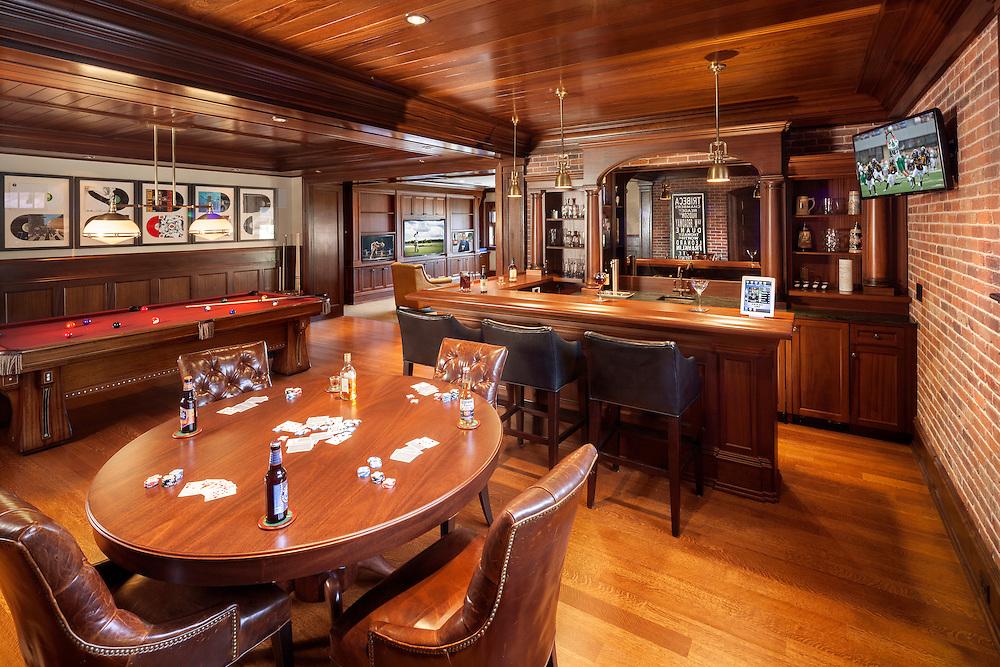 Basement Bar Billiard Room With Hidden Speakers And